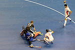 Berlin, Germany, February 10: During the FIH Indoor Hockey World Cup semi-final match between Germany (black) and Iran (white) on February 10, 2018 at Max-Schmeling-Halle in Berlin, Germany. Final score 6-2. (Photo by Dirk Markgraf / www.265-images.com) *** Local caption *** NEJAD Sasan HATAMI #1 of Iran, Fabian PEHLKE #23 of Germany, Mohammad ASNAASHARI #4 of Iran