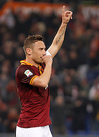 Calcio, Serie A: Roma vs Udinese. Roma, stadio Olimpico, 17 marzo 2014.<br /> AS Roma forward Francesco Totti celebrates after scoring during the Italian Serie A football match between AS Roma and Udinese at Rome's Olympic stadium, 17 March 2014.<br /> UPDATE IMAGES PRESS/Riccardo De Luca