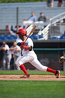 Auburn Doubledays second baseman Joshual Ramirez (16) at bat during the second game of a doubleheader against the Mahoning Valley Scrappers on July 2, 2017 at Falcon Park in Auburn, New York.  Mahoning Valley defeated Auburn 3-2.  (Mike Janes/Four Seam Images)