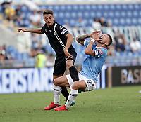 28th August 2021; Olympic Stadium, Rome, Italy; Serie A football, SS Lazio versus AC Spezia : Alessandro Bordin of Spezia and Ciro Immobile of Lazio