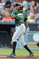 Augusta GreenJackets designated hitter Rafael Rodriguez #14 swings at a pitch during a game against the Asheville Tourists at McCormick Field on June 27, 2013 in Asheville, North Carolina. The Tourists won the game 10-6. (Tony Farlow/Four Seam Images)