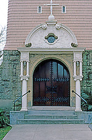 St. John's Episcopal Church, Petaluma CA.--Entrance. Ernest Coxhead, 1890.  Photo '83.
