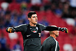 Chelsea Goalkeeper Thibaut Courtois warming up during the International Champions Cup match between Chelsea FC and FC Bayern Munich at National Stadium on July 25, 2017 in Singapore. Photo by Marcio Rodrigo Machado / Power Sport Images
