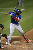 OAKLAND, CA - MAY 3:  Vladimir Guerrero Jr. #27 of the Toronto Blue Jays bats against the Oakland Athletics during the game at the Oakland Coliseum on Monday, May 3, 2021 in Oakland, California. (Photo by Brad Mangin)