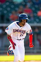 Tennessee Smokies center fielder Christopher Morel (11) /rounds the bases after hitting a home run against the Rocket City Trash Pandas at Smokies Stadium on July 2, 2021, in Kodak, Tennessee. (Danny Parker/Four Seam Images)