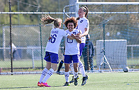 Kassandra Missipo (12) of Anderlecht pictured celebrating with teammates after scoring a goal during a female soccer game between Club Brugge Dames YLA and RSC Anderlecht on the fourth matchday in Play-Off 1 of the 2020 - 2021 season of Belgian Scooore Womens Super League , saturday 1st May 2021  in Brugge , Belgium . PHOTO SPORTPIX.BE | SPP | DAVID CATRY