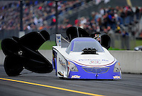 Oct. 1, 2011; Mohnton, PA, USA: NHRA funny car driver Leah Pruett during qualifying for the Auto Plus Nationals at Maple Grove Raceway. Mandatory Credit: Mark J. Rebilas-
