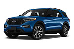 Stock pictures of low aggressive front three quarter view of 2020 Ford Explorer ST 5 Door SUV Low Aggressive