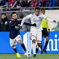 Foxborough, Massachusetts - October 13, 2018: In a Major League Soccer (MLS) match, New England Revolution (blue/white) defeated Orlando City SC (white), 2-0, at Gillette Stadium.