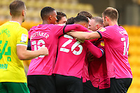 3rd October 2020; Carrow Road, Norwich, Norfolk, England, English Football League Championship Football, Norwich versus Derby; Wayne Rooney of Derby County celebrates his goal with team mates for 0-1