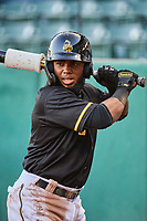 Luis Rengifo (2) of the Salt Lake Bees waits to bat against the Tacoma Rainiers at Smith's Ballpark on May 13, 2021 in Salt Lake City, Utah. The Rainiers defeated the Bees 15-5. (Stephen Smith/Four Seam Images)