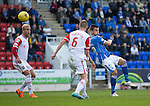 St Johnstone v Ross County...11.08.15...SPFL..McDiarmid Park, Perth.<br /> Graham Cummins shot is saved byScott Fox<br /> Picture by Graeme Hart.<br /> Copyright Perthshire Picture Agency<br /> Tel: 01738 623350  Mobile: 07990 594431