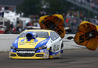 Aug 17, 2014; Brainerd, MN, USA; NHRA pro stock driver Allen Johnson during the Lucas Oil Nationals at Brainerd International Raceway. Mandatory Credit: Mark J. Rebilas-