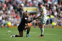 Jack Nowell of Exeter Chiefs is helped up by Ben Spencer of Saracens after losing the Aviva Premiership Rugby Final between Exeter Chiefs and Saracens at Twickenham Stadium on Saturday 26th May 2018 (Photo by Rob Munro/Stewart Communications)