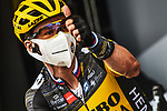Primoz Roglic (SLO) Team Jumbo-Visma at sign on before the start of Stage 8 of the 2021 Tour de France, running 150.8km from Oyonnax to Le Grand-Bornand, France. 3rd July 2021.  <br /> Picture: A.S.O./Charly Lopez | Cyclefile<br /> <br /> All photos usage must carry mandatory copyright credit (© Cyclefile | A.S.O./Charly Lopez)