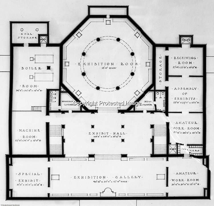 Pittsburgh PA:  View of a drawing created by Ingram & Boyd Architects of the new Buhl Planetarium.  This view is a close-up of the proposed ground floor layout of the planetarium. The project was completed in 1939.  The Buhl Planetarium was built with monies from the Buhl Foundation; a foundation created by the wealthy North Side clothier Henry Buhl of Boggs and Buhl department store fame.  Brady Stewart was selected for the job due to his specialized equipment; an 8x10 Dierdorff camera, and his expertise in lighting and photographing large renderings and drawings.