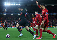 Atletico Madrid's Diego Costa under pressure from Liverpool's Andrew Robertson and Virgil van Dijk (right)<br /> <br /> Photographer Rich Linley/CameraSport<br /> <br /> UEFA Champions League Round of 16 Second Leg - Liverpool v Atletico Madrid - Wednesday 11th March 2020 - Anfield - Liverpool<br />  <br /> World Copyright © 2020 CameraSport. All rights reserved. 43 Linden Ave. Countesthorpe. Leicester. England. LE8 5PG - Tel: +44 (0) 116 277 4147 - admin@camerasport.com - www.camerasport.com