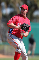 Philadelphia Phillies Derrick Loop #27 during an exhibition game vs the Netherlands National Team  at Al Lang Field in St. Petersburg, Florida;  March 13, 2011.  Photo By Mike Janes/Four Seam Images