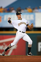 Bradenton Marauders shortstop Kevin Newman (5) warmup throw to first during a game against the Fort Myers Miracle on April 9, 2016 at McKechnie Field in Bradenton, Florida.  Fort Myers defeated Bradenton 5-1.  (Mike Janes/Four Seam Images)
