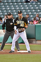 Roberto Lopez (30) of the Salt Lake Bees on defense against the Las Vegas 51s at Smith's Ballpark on May 8, 2014 in Salt Lake City, Utah.  (Stephen Smith/Four Seam Images)