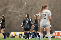 LOUISVILLE, KY - MARCH 13: Yuki Nagasato #17 and Lauren Milliet #2 of Racing Louisville FC celebrate a goal during a game between West Virginia University and Racing Louisville FC at Thurman Hutchins Park on March 13, 2021 in Louisville, Kentucky.