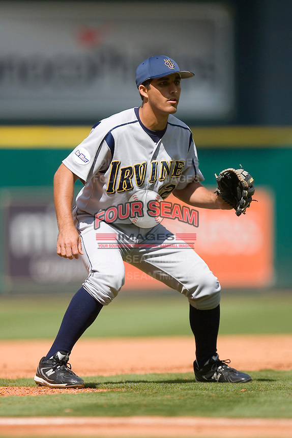 Third baseman DJ Crumlich #32 of the UC-Irvine Anteaters on defense versus the Houston Cougars in the 2009 Houston College Classic at Minute Maid Park February 28, 2009 in Houston, TX.  The Anteaters defeated the Cougars 13-7. (Photo by Brian Westerholt / Four Seam Images)