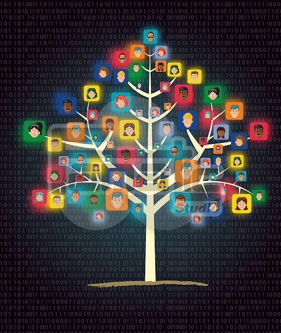 Illustration of networking tree showing human connection