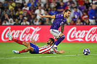 Orlando, FL - Wednesday July 31, 2019:  Leandro Gonzalez Pirez #5, Diego Costa #19 during the Major League Soccer (MLS) All-Star match between the MLS All-Stars and Atletico Madrid at Exploria Stadium.