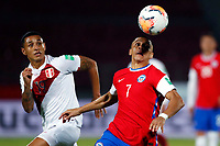13th November 2020; National Stadium of Santiago, Santiago, Chile; World Cup 2020 Football qualification, Chile versus Peru;  Alexis Sanchez of Chile turns away from Yoshimar Yotun of Peru