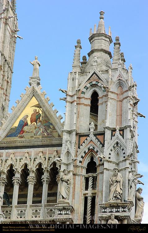 Right Tower and Gable, Mosaic Nativity of Jesus, Alessandro Franchi 1878, Gothic Statuary, Cathedral of Siena, Santa Maria Assunta, Siena, Italy