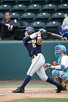 Jeffrey Mitchell Jr. (15) of the California Bears bats against the UCLA Bruins at Jackie Robinson Stadium on March 25, 2017 in Los Angeles, California. UCLA defeated California, 9-4. (Larry Goren/Four Seam Images)