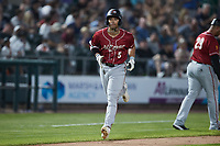 Cal Mitchell (5) of the Altoona Curve jogs towards home plate after hitting a home run against the Somerset Patriots at TD Bank Ballpark on July 24, 2021, in Somerset NJ. (Brian Westerholt/Four Seam Images)