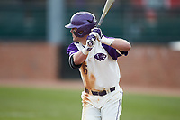 Joe Johnson (15) of the High Point Panthers at bat against the Campbell Camels at Williard Stadium on March 16, 2019 in  Winston-Salem, North Carolina. The Camels defeated the Panthers 13-8. (Brian Westerholt/Four Seam Images)