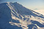 Adams Glacier on Mt. Adams with distictive Mt. Hood in the background, Washington.