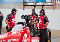 Sep 14, 2019; Mohnton, PA, USA; Crew members for NHRA top fuel driver Doug Kalitta during qualifying for the Reading Nationals at Maple Grove Raceway. Mandatory Credit: Mark J. Rebilas-USA TODAY Sports