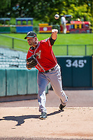 El Paso Chihuahuas starting pitcher Jason Lane (25) warms up in the bullpen before the game against the Salt Lake Bees in Pacific Coast League action at Smith's Ballpark on July 26, 2015 in Salt Lake City, Utah. El Paso defeated Salt Lake 6-3 in 10 innings. (Stephen Smith/Four Seam Images)