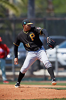 Pittsburgh Pirates pitcher Hector Quinones (91) during a Minor League Spring Training game against the Philadelphia Phillies on March 23, 2018 at the Carpenter Complex in Clearwater, Florida.  (Mike Janes/Four Seam Images)