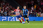 Atletico de Madrid's Filipe Luis and Club Brugge's Thibault Vlietinck during UEFA Champions League match between Atletico de Madrid and Club Brugge at Wanda Metropolitano Stadium in Madrid, Spain. October 03, 2018. (ALTERPHOTOS/A. Perez Meca)