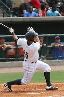 Charleston Riverdogs designated hitter Gary Sanchez #35 hitting a three-run home run during the third inning of a game against the Savannah Sand Gnats at Joseph P. Riley Jr. Park on May 16, 2012 in Charleston, South Carolina. Charleston defeated Savannah by the score of 14-5. (Robert Gurganus/Four Seam Images)