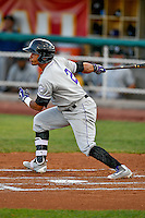 Jonathan Piron (2) of the Grand Junction Rockies at bat against the Orem Owlz in Pioneer League action at Home of the Owlz on July 6, 2016 in Orem, Utah. The Rockies defeated the Owlz 5-4 in Game 2 of the double header.  (Stephen Smith/Four Seam Images)