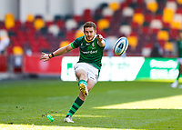 24th April 2021; Brentford Community Stadium, London, England; Gallagher Premiership Rugby, London Irish versus Harlequins; Paddy Jackson of London Irish scores with a conversion kick