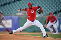 Buffalo Bisons starting pitcher Luis Santos (31) delivers a pitch during a game against the Syracuse Chiefs on May 18, 2017 at Coca-Cola Field in Buffalo, New York.  Buffalo defeated Syracuse 4-3.  (Mike Janes/Four Seam Images)