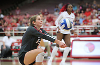 Arkansas Freshman Courtney Jackson (15) bumps ball against Auburn on Sunday, Oct. 10, 2021, during play at Barnhill Arena, Fayetteville. Visit nwaonline.com/211011Daily/ for today's photo gallery.<br /> (Special to the NWA Democrat-Gazette/David Beach)