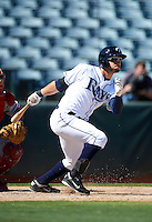 Phoenix Desert Dogs outfielder Kevin Kiermaier #25, of the Tampa Bay Rays organization, during an Arizona Fall League game against the Peoria Javelinas at Phoenix Municipal Stadium on October 12, 2012 in Phoenix, Arizona.  Phoenix defeated Peoria 13-3.  (Mike Janes/Four Seam Images)