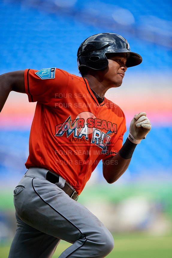 Miami Marlins Brayan Hernandez (23) runs the bases during a Florida Instructional League game against the Washington Nationals on September 26, 2018 at the Marlins Park in Miami, Florida.  (Mike Janes/Four Seam Images)