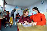 Teacher Oonagh O'Rahilly with Caoimhe Somers in Moyderwell primary school on Wednesday, also in photo are Zayn Rahman, Sabrina Kavanah, SNA and Jamie Ndlovu.