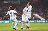 Gylfi Sigurdsson of Swansea City celebrates scoring his sides second goal during the Barclays Premier League match between AFC Bournemouth and Swansea City played at The Vitality Stadium, Bournemouth on March 12th 2016