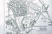 London: Hampstead Garden Suburb--Map. Jonathan Barnett, The Elusive City; The Cul de Sac, an innovation of Parker  & Unwin. Reference only.