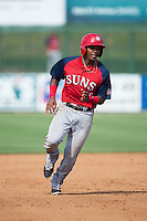 Osvaldo Abreu (10) of the Hagerstown Suns hustles towards third base against the Kannapolis Intimidators at CMC-Northeast Stadium on August 16, 2015 in Kannapolis, North Carolina.  The Suns defeated the Intimidators 7-2 in game one of a double-header.  (Brian Westerholt/Four Seam Images)