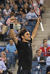 Roger Federer (SUI) defeats Gael Monfils (FRA) in five sets, 4-6, 3-6, 6-4, 7-5, 6-2 at the US Open being played at USTA Billie Jean King National Tennis Center in Flushing, NY on September 4, 2014